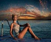 Beautiful sexy girl, pretty young model, sea sunset, ocean coast