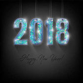 Happy New Year card Modern Holographic text 2018 with shadow on a dark blue background Original Beautiful shining and iridescent with different colors voluminous numbers with glare and flashes
