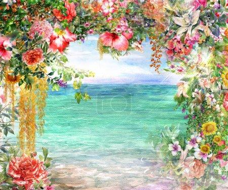 Photo pour Fleurs abstraites aquarelle peinture. Printemps multicolore près de la mer illustration - image libre de droit