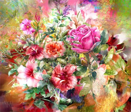 Photo pour Peinture aquarelle abstraite de fleurs colorées. Printemps multicolore - image libre de droit