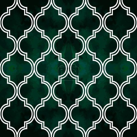 """Abstract geometric seamless vector pattern. Trendy textile or interior wallpaper repeatable texture. Tony white and green """"emerald"""" color shades. Waves shapes ''ogee"""" background."""