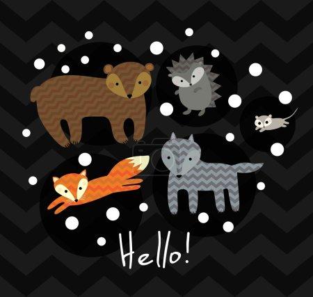 Cute kids winter animals illustration