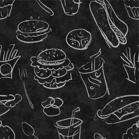 Seamless fastfood black and white vector pattern. ...