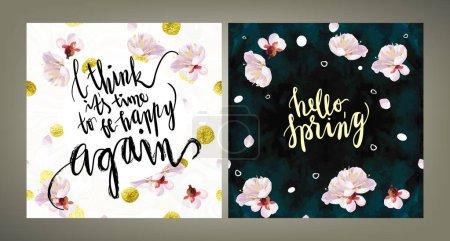 Spring mood illustrations set