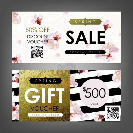 Gift certificate template with plum flowers