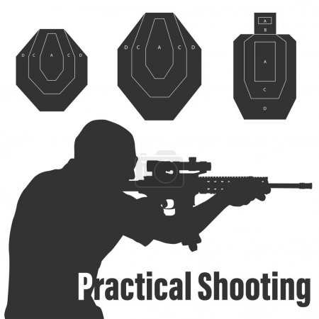 Illustration pour Pratique tir homme visant le fusil au champ de tir et trois types de cibles de fusil. Sera parfait pour logo, bannière, affiche, carte postale . - image libre de droit