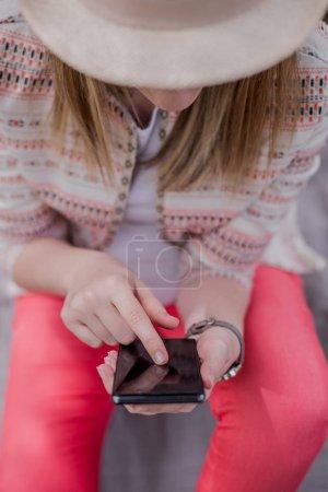 Hand of women using mobile smart phone