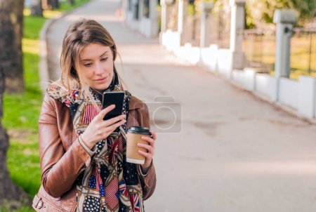 young woman is using an app