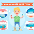 Smiling boy holding a toothbrush and toothpaste. How to brush your teeth. Instructions for children with infographics element
