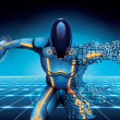 Science-fiction robot with disc in hand falling do...