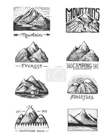Illustration for Set of 8 different badges with mountains, engraved, hand drawn or sketch style include logos for camping, hiking. vintage, old looking. - Royalty Free Image