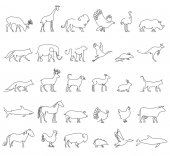 One line animals set logos vector stock illustration Turkey and cow pig and eagle giraffe and horse dog and cat fox and wolf dolphin and shark deer and elephant stork and chicken