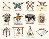 set of engraved vintage hand drawn old labels or badges for indian or native american buffalo face with feathers horse rider apache or comanche campfire and authentic