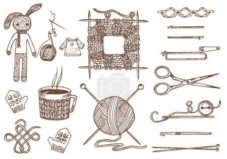 Illustration pour Définir des outils pour tricoter ou crocheter et des matériaux ou des éléments pour la broderie. couture club. fait à la main pour bricolage. Boutique sur mesure. fil, laine maison naturelle moutons, enchevêtrement avec des aiguilles. gravé à la main dessiné - image libre de droit
