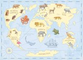 Vintage world map with wild animals and mountains Sea creatures in the ocean Old retro parchment wildlife on earth concept background or poster for kids engraved hand drawn mainland and island