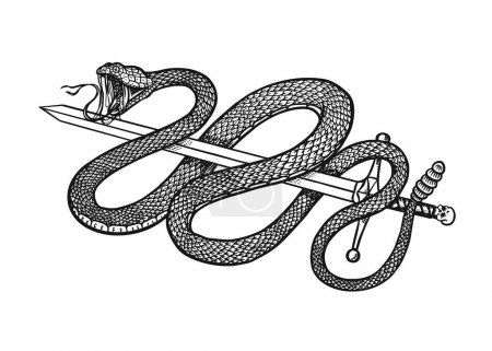 Illustration for Snake with a sword in Vintage style. Serpent cobra or python or poisonous viper. Engraved hand drawn old reptile sketch for Tattoo. Anaconda for sticker or logo or t-shirts - Royalty Free Image