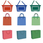 Illustration of shopping bags on white background