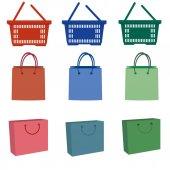 Illusztráció: bevásárló táskák, fehér háttér
