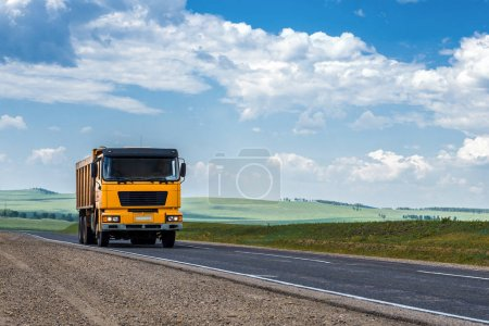 Dump truck on the road