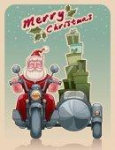 Santa biker on motorcycle