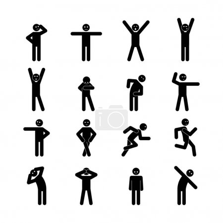Illustration for A set of illustrations stick figure for website - vector icons little human people motion physical jerks running activity load exercise pictogram icon of Webit.Top - Royalty Free Image