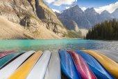 canoas at Moraine Lake Banff National Park West Canada