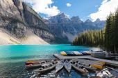 Canoas at Moraine Lake Banff National Park Alberta Canada