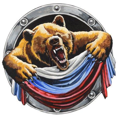 Photo pour Ours russe avec le drapeau russe - image libre de droit