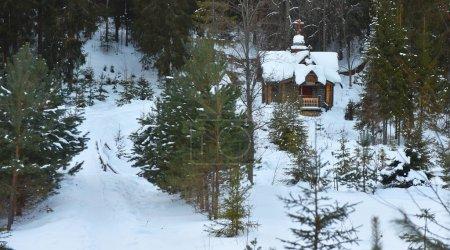 Photo pour Sources sacrées, des lieux d'énergie de l'hiver russe dans la forêt de conifères - image libre de droit