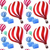 Hot air balloons with cute clouds pattern. Bright colors design. Baby shower illustrations on blue sky background. Child drawing style.