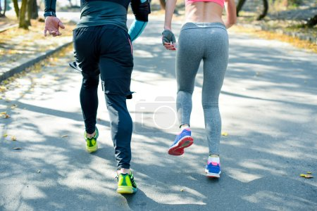Couple running in the park