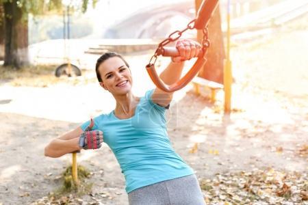 Attractive sportswoman training