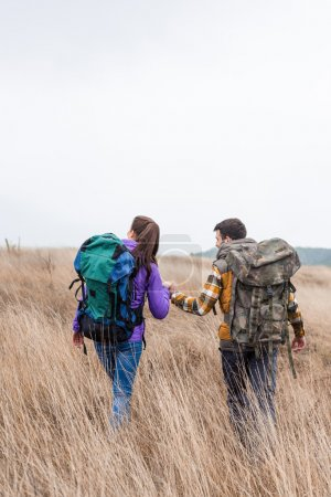 Photo for Back view of young couple with backpacks holding hands and walking in tall grass in countryside - Royalty Free Image