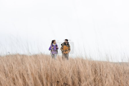 Photo for Young smiling couple with backpacks walking in tall dry grass against cloudy sky - Royalty Free Image