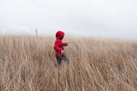 Little boy walking in dry grass