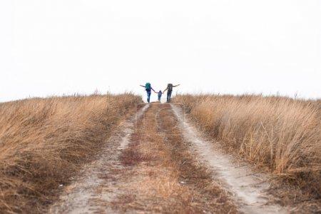 Photo pour Vue arrière du jeune Hébert avec sacs à dos, tenant par la main et en cours d'exécution sur chemin rural à jour nuageux de l'automne - image libre de droit