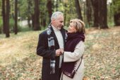 Beautiful couple in autumn park