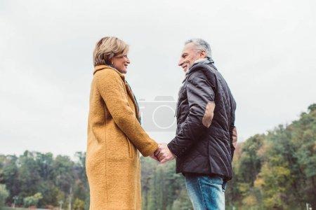 Beautiful mature couple holding hands