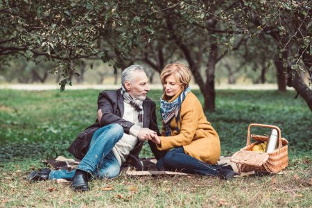 Beautiful mature couple in park