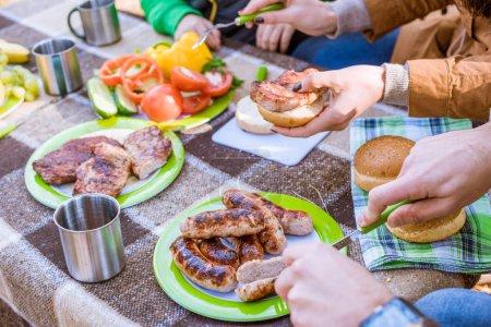 Family eating at picnic