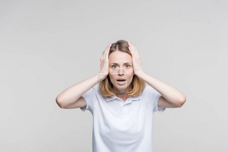 Attractive shocked woman