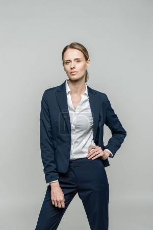 attractive businesswoman in suit
