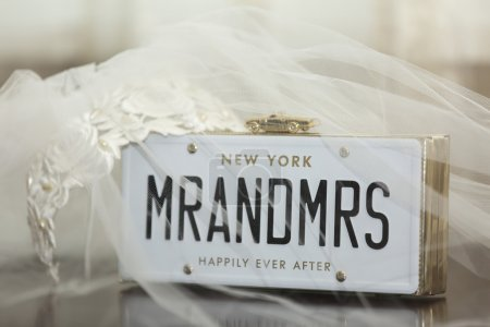 Voile de mariée avec Mr et Mrs placard