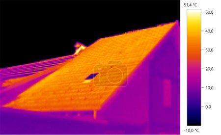 Photo pour Thermal Image Photo, lroof, échelle de couleurs - image libre de droit