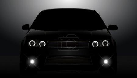 Illustration pour Silhouette d'un véhicule noir avec feux de circulation sur fond sombre . - image libre de droit