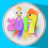 the icon picture the button a feather reflection glass number two thousand seventeenth 2017 on blue fonesimvol Christmas rooster chicken bird to use for design the press t-shirts vector illustrat