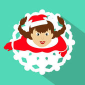 The GIRL SANTA CLAUS looks up a skirt in a form a snowflake against the background of green to use for the press an undershirt a t-shirt illustration vector of Eps 10