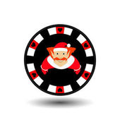 poker chip Christmas new year Icon EPS 10 vector illustration on a white background to separate easily Use for websites design decoration printing etc Elf in the red cap  the