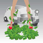 Retro car Winnings a gift A lot of money dollars tutus Female legs Illustration on white easy to separate background for your design