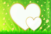 PhotoFrame Heart in shape Vector illustration for your design Green meadow